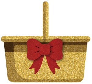 Dorothy's sparkly basket with red bow